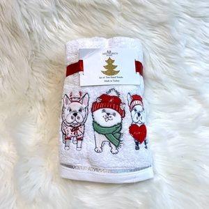 Frenchie Holiday 2pk Hand Towels